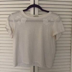 Cotton on white tee with embroidered flowers